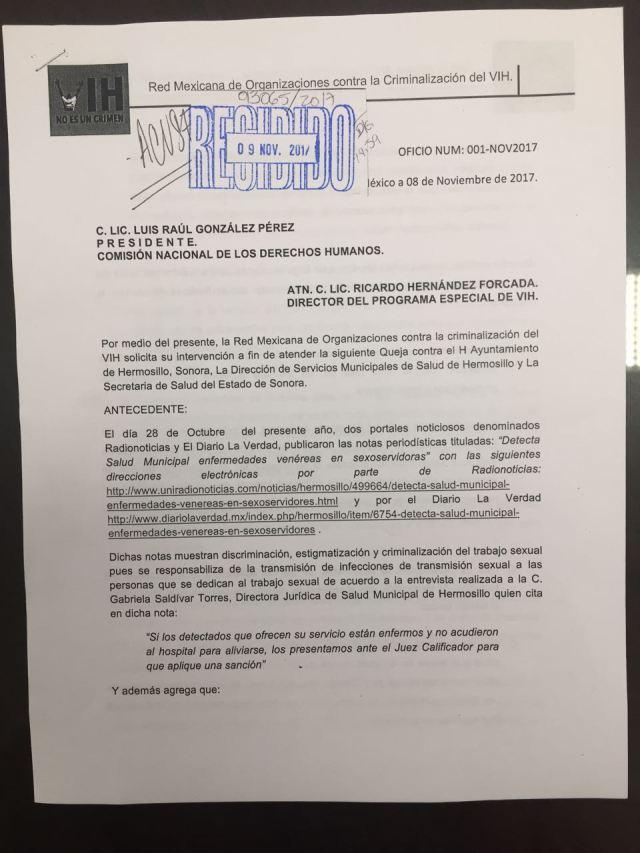 ACUSE DE RECIBIDO CNDH_QUEJA_CRIMINALIZACIÓN DEL TRABAJO SEXUAL EN HERMOSILLO_SONORA
